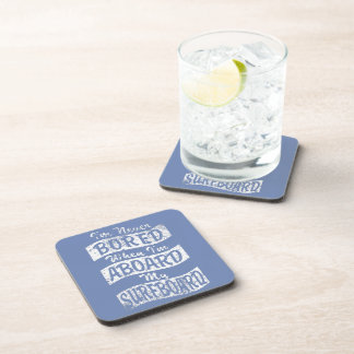 Never BORED ABOARD my SURFBOARD (Wht) Drink Coasters
