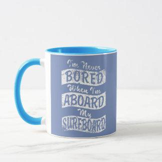Never BORED ABOARD my SURFBOARD (Wht) Mug