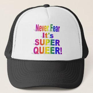 Never Fear It's Super Queer Rainbow Trucker Hat