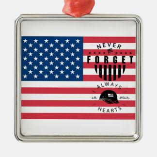 Never Forget American Flag Silver-Colored Square Decoration