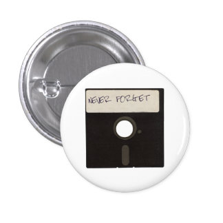 Never Forget Computer Floppy Disks 3 Cm Round Badge