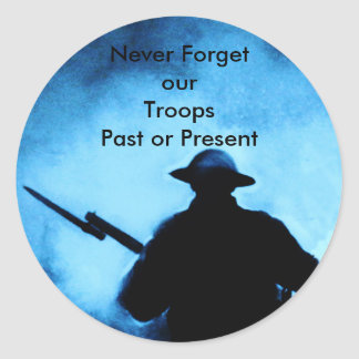 Never Forget Our Troops - past or present Round Stickers
