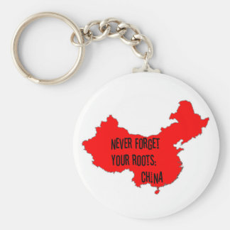 Never forget your roots: China Basic Round Button Key Ring