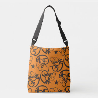 Never give up all over print orange black tote tote bag