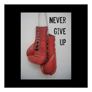Never Give Up Boxing Poster