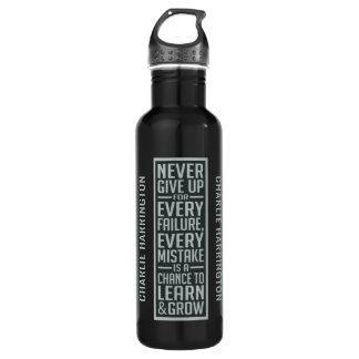 NEVER GIVE UP custom name water bottles