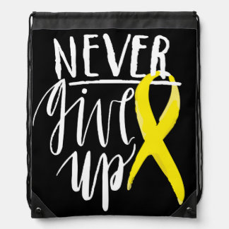 NEVER GIVE UP Drawstring Backpack