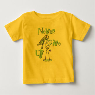 Never Give Up Frog Choking Heron Baby T-Shirt