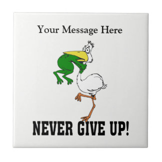 Never Give Up Frog Small Square Tile