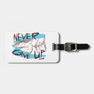 never give up great white shark cartoon style luggage tag