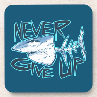never give up great white shark coasters