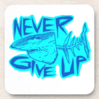 never give up great white shark drink coaster