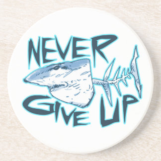 never give up great white shark sandstone coaster