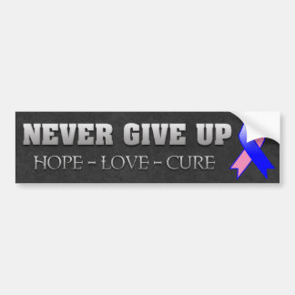 Never Give Up Hope Male Breast Cancer Awareness Car Bumper Sticker