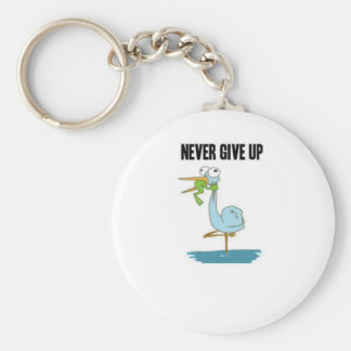 Never Give Up Insperational Design Basic Round Button Key Ring