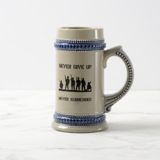 Never Give Up Military Beer Steins