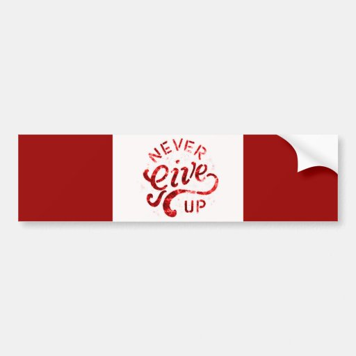 NEVER GIVE UP MOTIVATIONAL ENCOURAGING QUOTES MOTT BUMPER STICKER