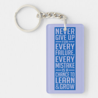 Never Give Up motivational key chain