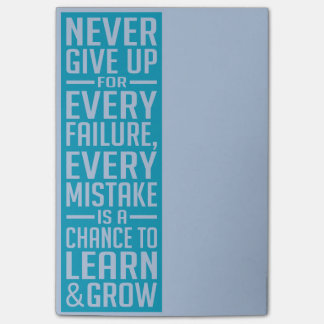 Never Give Up motivational post-it notes