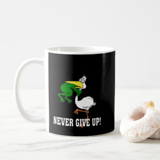 Never Give Up Pelican and Frog Coffee Mug