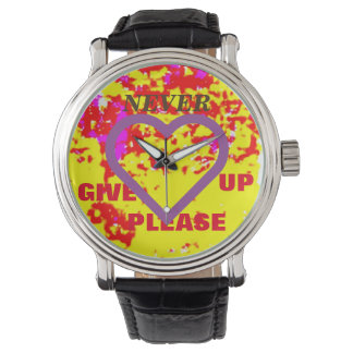 NEVER GIVE UP PLEASE / LARGE PURPLE HEART WATCH
