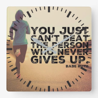 Never Give Up - Running Workout Inspirational Square Wall Clock