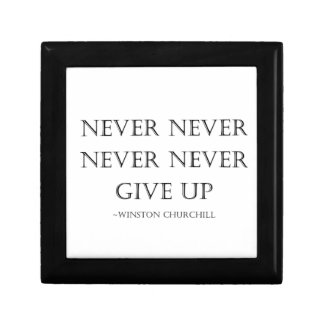 Never give up small square gift box