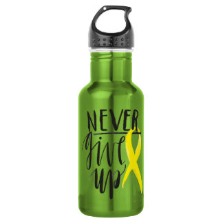 NEVER GIVE UP Water Bottle (18 oz), Apple