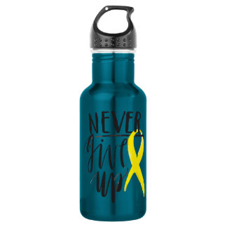 NEVER GIVE UP Water Bottle (18 oz), Electric Blue
