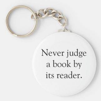 Never Judge A Book Basic Round Button Key Ring
