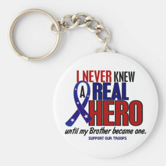 Never Knew A Hero 2 Brother (Support Our Troops) Key Chain