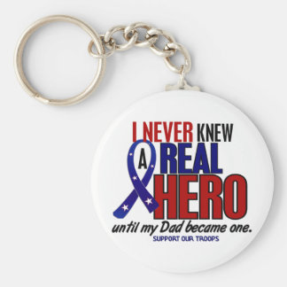 Never Knew A Hero 2 Dad (Support Our Troops) Key Chains