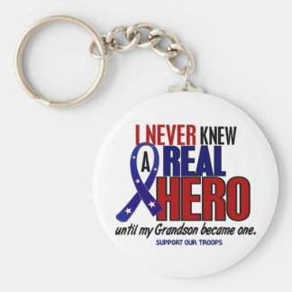 Never Knew A Hero 2 Grandson (Support Our Troops) Key Chains