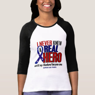 Never Knew A Hero 2 Husband (Support Our Troops) Tee Shirt