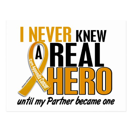 Never Knew a Hero 2 Partner Appendix Cancer Postcard