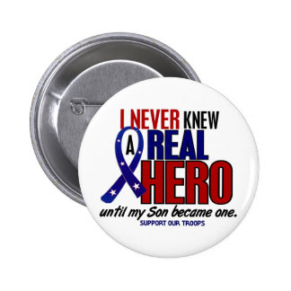 Never Knew A Hero 2 Son (Support Our Troops) 6 Cm Round Badge
