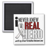 Never Knew A Real Hero 2 Great Grandma Lung Cancer Fridge Magnet