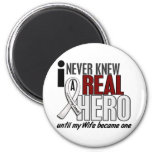 Never Knew A Real Hero 2 Wife Lung Cancer 6 Cm Round Magnet