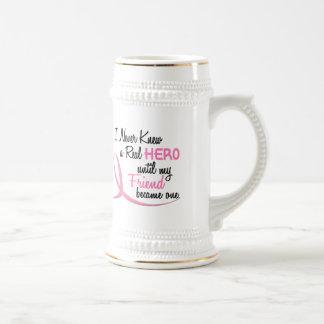 Never Knew A Real Hero 3 Friend BREAST CANCER Mug
