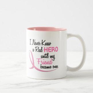 Never Knew A Real Hero 3 Friend BREAST CANCER Coffee Mug