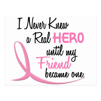 Never Knew A Real Hero 3 Friend BREAST CANCER Postcard