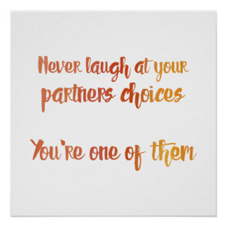 Never Laugh at Your Partner Poster