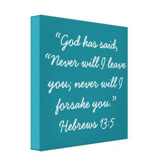 """Never Leave You"" 12 x 12 Scripture Canvas Canvas Print"