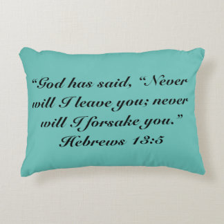 """""""Never Leave You"""" Scripture Accent Pillow"""