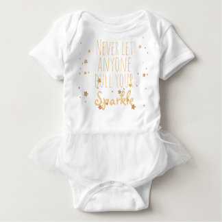 Never Let Anyone Dull Your Sparkle Quote Gold Star Baby Bodysuit