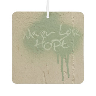 Never Lose Hope, Green and Tan Car Air Freshener