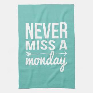 Never Miss a Monday | Teal Aqua Fitness Quote Tea Towel
