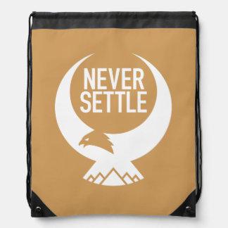 Never Settle Drawstring Bag