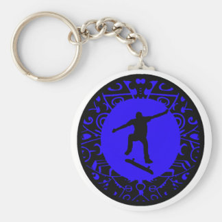 NEVER SKATE BLUES BASIC ROUND BUTTON KEY RING