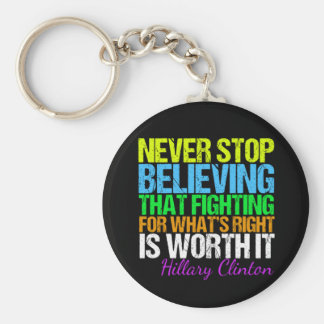 Never Stop Believing in Hillary Motivational Key Ring